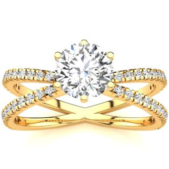 Modern X Band 1.25 Carat Solitaire Engagement Ring With 48 Side Diamonds in 14K Yellow Gold