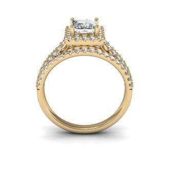 1 1/2 Carat Elegant Princess Cut Halo Diamond Engagement Ring In 14 Karat Yellow Gold