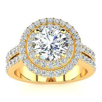 2 1/2 Carat Double Halo Round Diamond Engagement Ring in 14 Karat Yellow Gold
