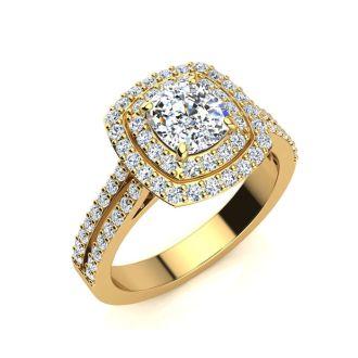 2 Carat Double Halo Cushion Cut Diamond Engagement Ring in 14 Karat Yellow Gold