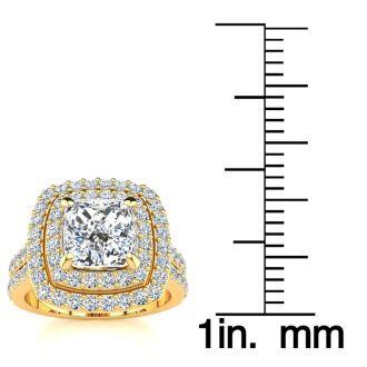 2 1/2 Carat Double Halo Cushion Cut Diamond Engagement Ring in 14 Karat Yellow Gold