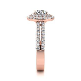 1 1/2 Carat Double Halo Round Diamond Engagement Ring in 14 Karat Rose Gold