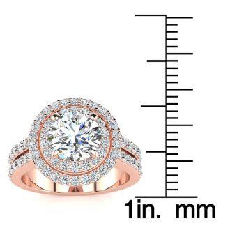 2 1/2 Carat Double Halo Round Diamond Engagement Ring 14 Karat Rose Gold
