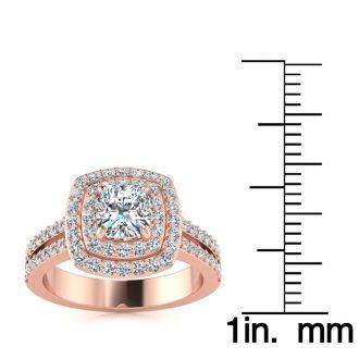 1 1/2 Carat Halo Diamond Engagement Ring in 14k Rose Gold