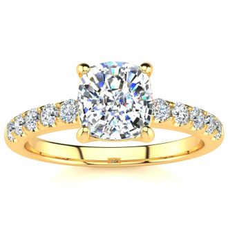 1 3/4 Carat Traditional Diamond Engagement Ring with 1 1/2 Carat Center Cushion Cut Solitaire In 14 Karat Yellow Gold