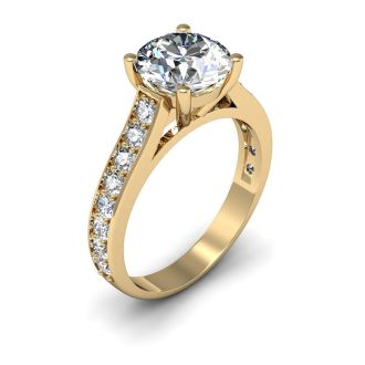 2 1/2 Carat Classic Engagement Ring With 2 Carat Center Diamond In 14K Yellow Gold