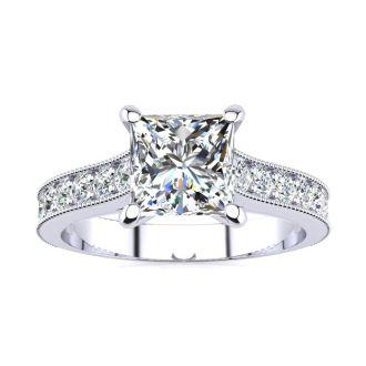 1 1/2 Carat Diamond Engagement Ring With 1 Carat Princess Cut Center Diamond In 14K White Gold