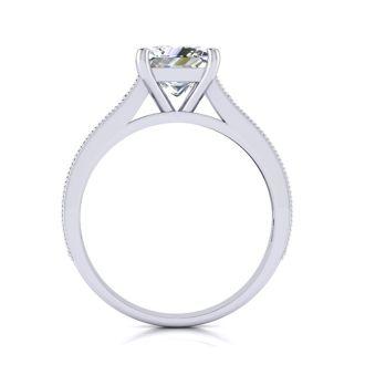 2 Carat Diamond Engagement Ring With 1 1/2 Carat Princess Cut Center Diamond In 14K White Gold