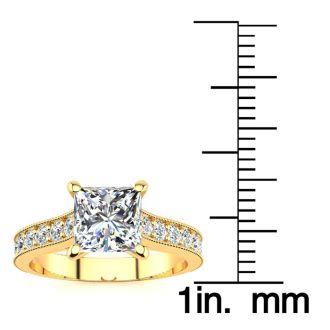 1 1/2 Carat Diamond Engagement Ring With 1 Carat Princess Cut Center Diamond In 14K Yellow Gold