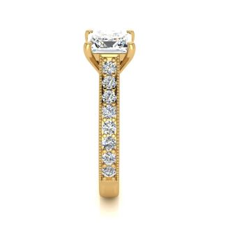 2 Carat Diamond Engagement Ring With 1 1/2 Carat Princess Cut Center Diamond In 14K Yellow Gold