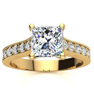 2 1/2 Carat Diamond Engagement Ring With 2 Carat Princess Cut Center Diamond In 14K Yellow Gold