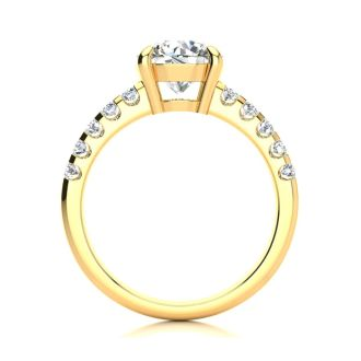 2 1/3 Carat Traditional Diamond Engagement Ring with 2 Carat Center Round Solitaire In 14 Karat Yellow Gold