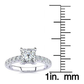 1 1/3 Carat Traditional Diamond Engagement Ring with 1 Carat Center Princess Cut Solitaire In 14 Karat White Gold