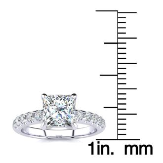 1 3/4 Carat Traditional Diamond Engagement Ring with 1 1/2 Carat Center Princess Cut Solitaire In 14 Karat White Gold