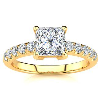 1 1/3 Carat Traditional Diamond Engagement Ring with 1 Carat Center Princess Cut Solitaire In 14 Karat Yellow Gold