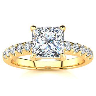1 3/4 Carat Traditional Diamond Engagement Ring with 1 1/2 Carat Center Princess Cut Solitaire In 14 Karat Yellow Gold