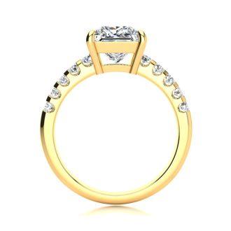 2 1/2 Carat Traditional Diamond Engagement Ring with 2.15 Carat Center Princess Cut Solitaire In 14 Karat Yellow Gold