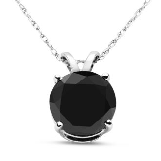 Amazing Massive 4 Carat ++ Black Diamond Mounted In A Heavy Solitaire Pendant.  Comes With An 18 Inch Chain