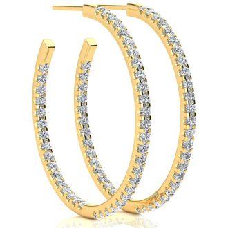 14K Yellow Gold 2 Carat Diamond Three Quarter Hoop Earrings