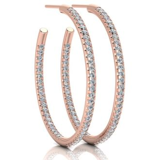 14K Rose Gold 1 Carat Diamond Three Quarter Hoop Earrings