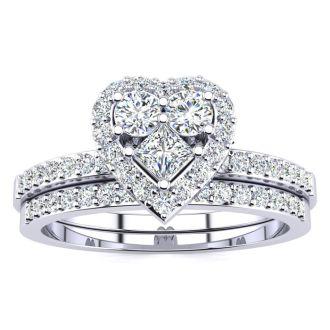 1/2 Carat Heart Halo Diamond Bridal Set in White Gold