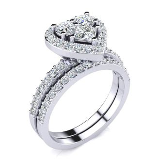 1 Carat Heart Halo Diamond Bridal Set in 14k White Gold