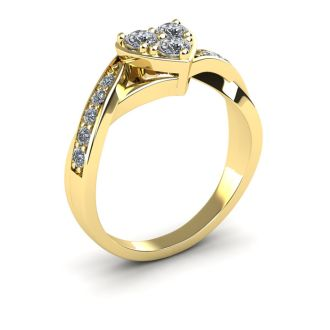 1/2 Carat Heart Shape Engagement Ring In Yellow Gold