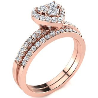 1/2 Carat Heart Halo Diamond Bridal Set in Rose Gold
