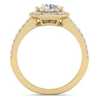 1 1/2 Carat Halo Diamond Engagement Ring In 14 Karat Yellow Gold