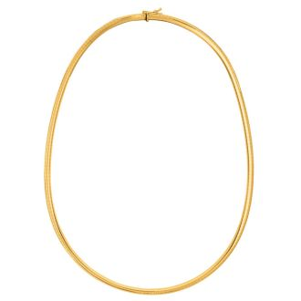 14 Karat Yellow Gold 6.0mm 20 Inch Round Omega Chain Necklace