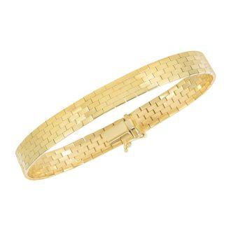 14 Karat Yellow Gold 8.0mm 7 Inch Brick Omega Fancy Bracelet