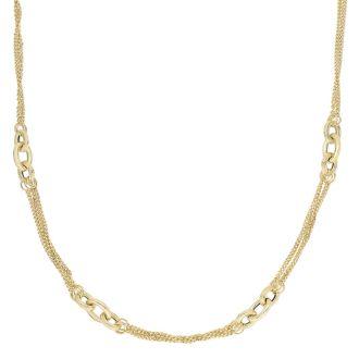 14 Karat Yellow Gold 18 Inch Shiny & Diamond Cut Oval Link Cluster Fancy Necklace