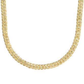 14 Karat Yellow Gold 18 Inch Ridged Fancy Link Necklace