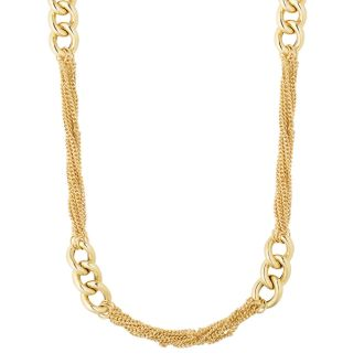 14 Karat Yellow Gold 24 Inch Fancy Oval Link Clusters & Chain Strand Necklace