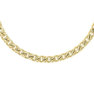 14 Karat Yellow Gold 6.0mm 18 Inch Textured & Shiny Oval Link Necklace