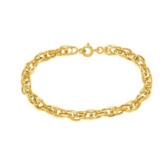 14 Karat Yellow Gold 7.50 Inch Shiny Euro Link Bracelet
