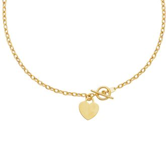 14 Karat Yellow Gold 17 Inch Shiny Oval Link Necklace with Heart
