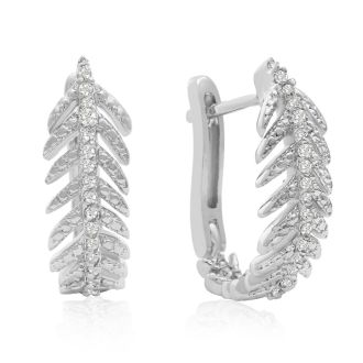 1/4 Carat Diamond Feather Earrings In White Gold Overlay With Latchback .   Incredibly Popular Hoop Earrings!