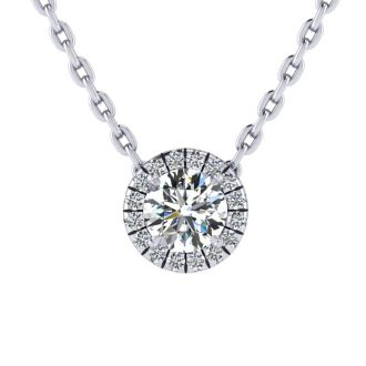 7/8ct Halo Diamond Necklace In 14K White Gold