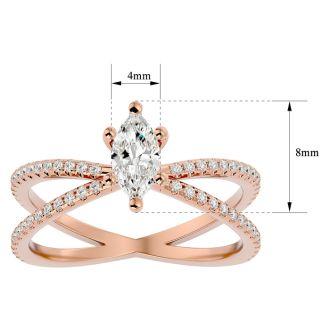 3/4 Carat Marquise Shape Diamond Engagement Ring In 14 Karat Rose Gold