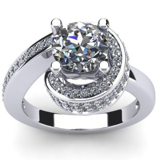 Modern Asymmetrical Round Brilliant 2 Carat Diamond Engagement Ring In 14K White Gold