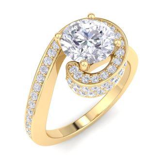 Modern Asymmetrical Round Brilliant 2 Carat Diamond Engagement Ring In 14K Yellow Gold