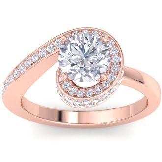 Modern Asymmetrical Round Brilliant 2 Carat Diamond Engagement Ring In 14K Rose Gold