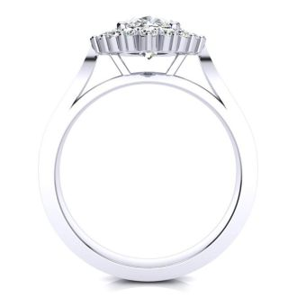 1 1/2ct Oval And Round Diamond Classic Engagement Ring In 14 Karat White Gold