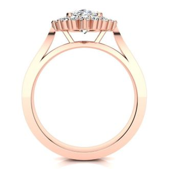 1 1/2ct Oval And Round Diamond Classic Engagement Ring In 14 Karat Rose Gold