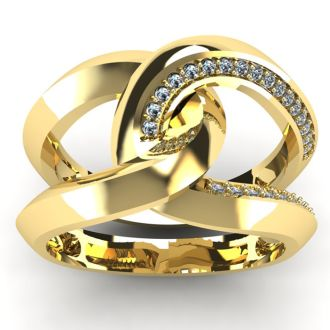 Super Bold And Gorgeous 1/4 Carat Diamond Band In 14K Yellow Gold