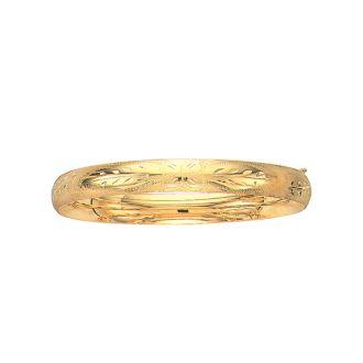 14 Karat Yellow Gold 8.0mm 7 Inch Florentine Round Dome Classic Bangle