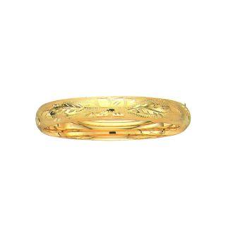 14 Karat Yellow Gold 10.0mm 7 Inch Florentine Round Dome Classic Bangle
