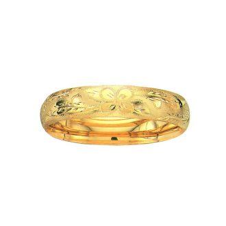 14 Karat Yellow Gold 13.5mm 7 Inch Florentine Round Dome Classic Bangle