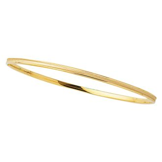 14 Karat Yellow Gold 3.15mm 8 Inch Shiny Round Concave Stackable Bangle